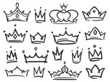 Fototapeta Młodzieżowe - Sketch crown. Simple graffiti crowning, elegant queen or king crowns hand drawn vector illustration
