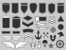 Military Patches. Army Soldier Emblem, Troops Badges And Air Force Insignia Patch Design Elements Vector Set