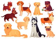 Cartoon Puppy And Dog. Happy P...