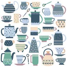 Ceramic Kitchen Teacup. Porcelain Tea Service, China Teapot And Plate Dishes Vector Set