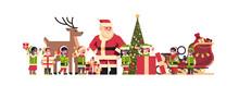 Santa Claus Elves Reindeer Nea...
