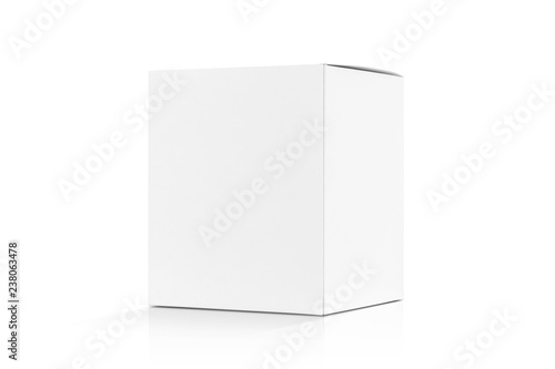 Carta da parati white cardboard box isolated on white background