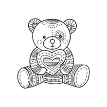 Vector Illustration Of Handmade Teddy Bear Toy.