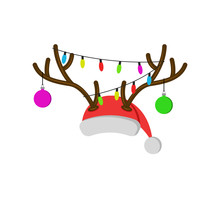 Christmas Carnival Mask With Reindeer Antlers, Santa Claus Red Hat With Deer Horns New Year Balls And Christmas Lights