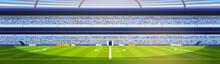Empty Football Stadium Field View Sunset Flat Banner