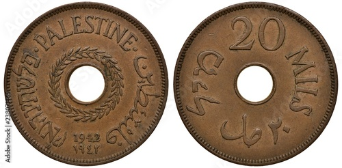 Fotografia  Palestine Palestinian coin 20 twenty mils 1942, WWII issue, country name in thre