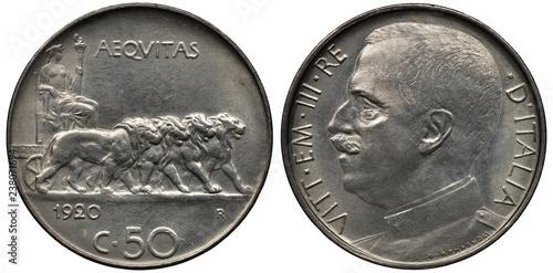 Italy Italian coin 50 fifty centesimi 1920, allegoric female in toga holding tor Slika na platnu