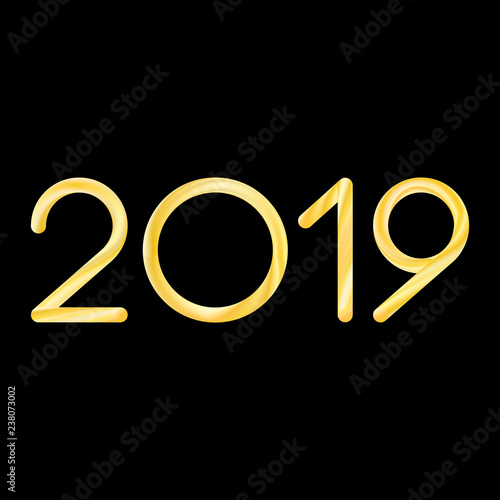 Fototapeta 2019 new year lettering in modern fluid liquid blend gold gradient colors on colorful red violet background. stock vector illustration clipart obraz na płótnie
