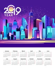 2019 Calendar Night City