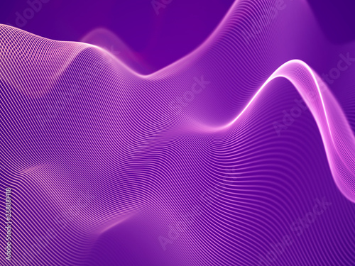 Spoed Foto op Canvas Violet 3D visualization of sound waves. Big data or information concept: Pink chart. Data abstract: futuristic digital landscape. Visual sound waves or audio equalizer. EPS 10 vector illustration.