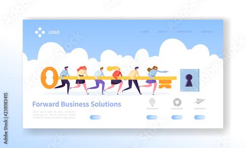 Business Success Key Landing Page Template Canvas Print