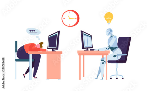 Obraz Robot Work while Businessman Sleeps. Human and Droid Competition at Office. Robotic Character Worker Future Evolution. Flat Cartoon Vector Illustration - fototapety do salonu