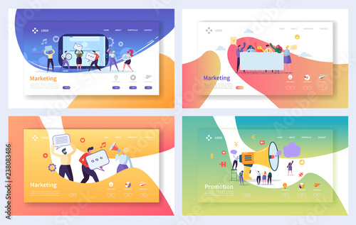 Digital Advertising Marketing Landing Page Set Canvas Print