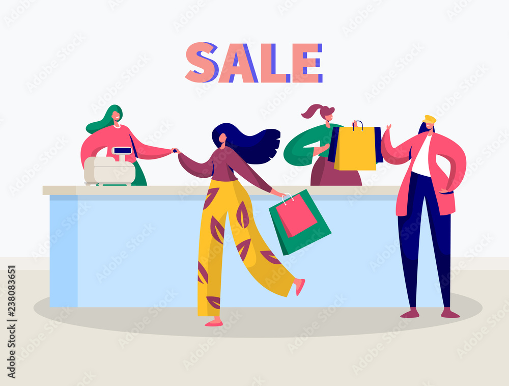 Fototapeta Store Sale Purchase Character Banner. Woman Shopping with Discount Card Concept. Offline Fashion Customer Payment. Flat Cartoon Vector Illustration