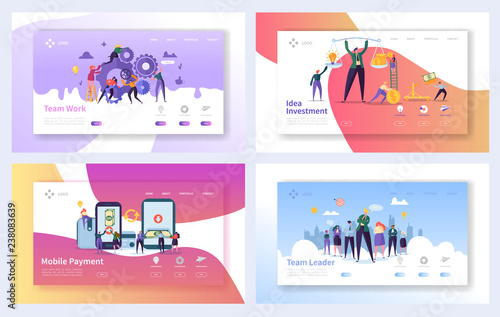 Photo  Business Teamwork Landing Page Template Set