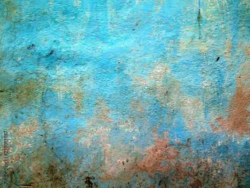 Stampa su Tela  Mur coloré et patiné avec texture rugueuse
