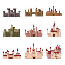 Srt Castles, Fortress, Ancient, Architecture Middle Ages Europe, Medieval Palaces With High Towers And Conical Roofs, Vector, Banners, Isolated, Illustration, Cartoon Style