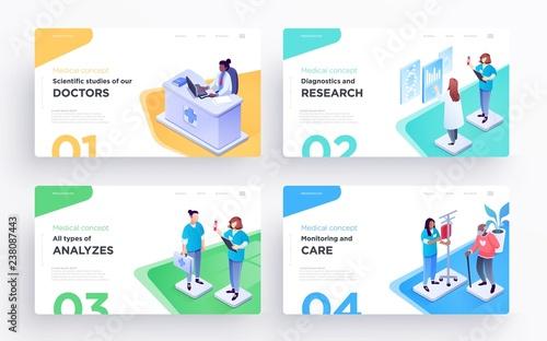 Presentation slide templates or hero banner images for websites, or apps. Medical concept illustrations. Modern isometric style
