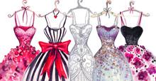Watercolor Fashion Illustration. Elegant Dresses. Fashionable Women's Dress.