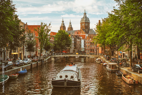 Photo  Tour Boat Cruising At Canal, Amsterdam, Netherlands