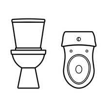 Toilet Silhouettes, Bowl Vector