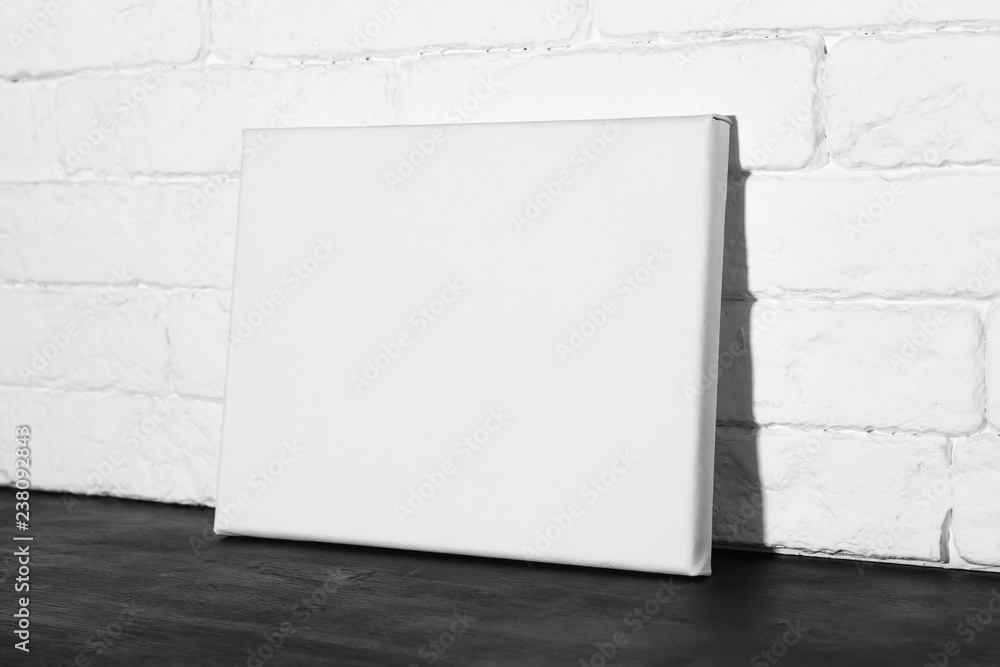 Fototapety, obrazy: Poster template. Blank canvas frame. Side view.