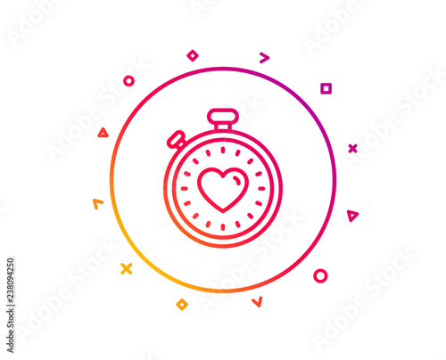 Heart in Timer line icon  Love symbol  Valentines day
