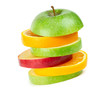 Fresh fruits. Stack of apple and orange slices on white