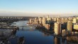 right pan downtown Vancouver sunrise