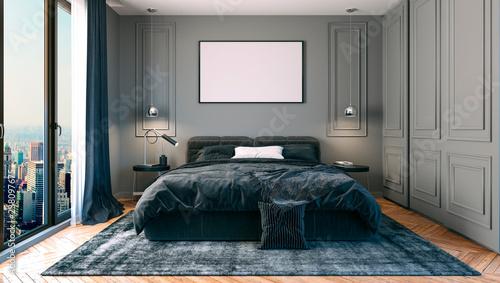 Foto  3d render of beautiful bedroom interior