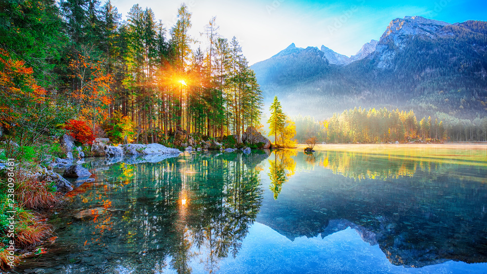 Beautiful autumn sunrise scene with trees near turquoise water of Hintersee lake