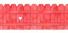 Watercolour Painting Of Seamless Wooden Fence. Red Coloured With Cute Decorative Hole; Front View. Hand Drawn Water Color Sketchy Illustration On White Backdrop, Isolated Motif For Decor And Design.