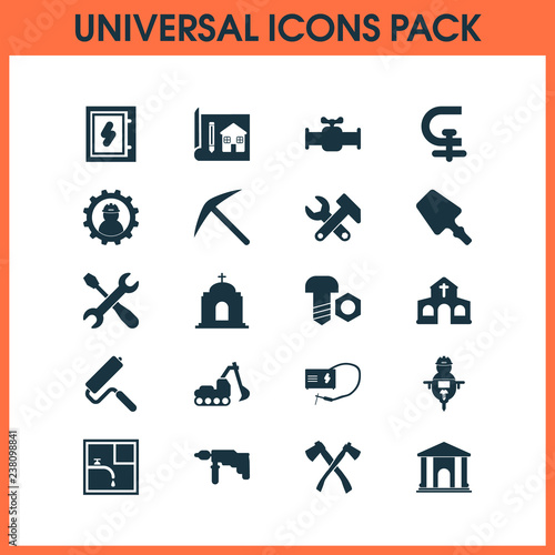 Construction icons set with pick, man with drill, bolt with nut and other roller brush  elements. Isolated vector illustration construction icons. Wall mural