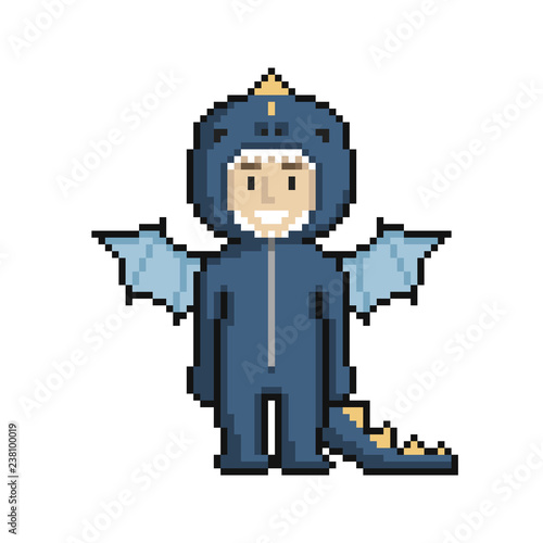 Foto op Aluminium Pixel Сute cartoon kid in dragon costume. Pixel art on white background. Vector illustration.