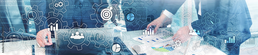 Fototapeta Business process abstract diagram with gears and icons. Workflow and automation technology concept. Website header banner.
