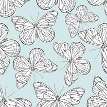 Butterflies Hand Drawing. Vector Seamless Pattern