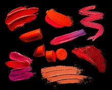 Collection Of Lipstick Smudge Texture Black Isolated Background
