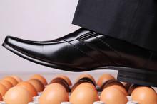 Man Walking On Eggs.  An Expre...