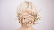 canvas print picture - Female head back view. Make an elegant hairstyle with petals