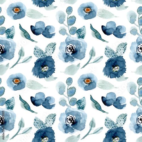 ladny-niebieski-kwiatowy-akwarela-bezszwowe-wzor