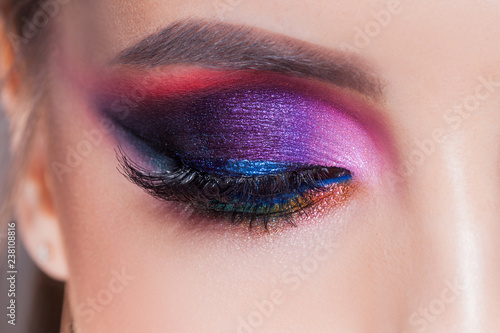 Obraz na plátne Amazing Bright eye makeup in luxurious blue shades