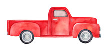 Side View Of Red Retro Pick-up...