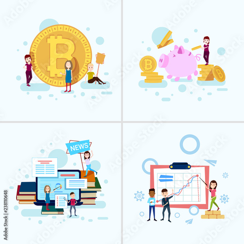 Set Diversity Boy Girl Character Bitcoin Money Growth Concepts Male
