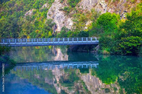 Fotografia  pedestrian bridge over the river water