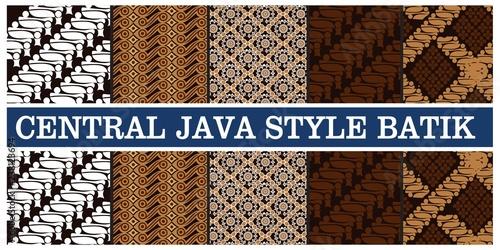 Photo illustration of various types of batik in indonesian java, vector illustration