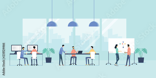 flat vector illustration group business team meeting and working collaboration in office workplace concept