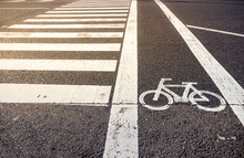 Bike Lane Symbol With Crosswal...