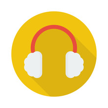 Earmuffs Icon In Flat Style With Long Shadow,isolated Vector Illustration On White Transparent Background.