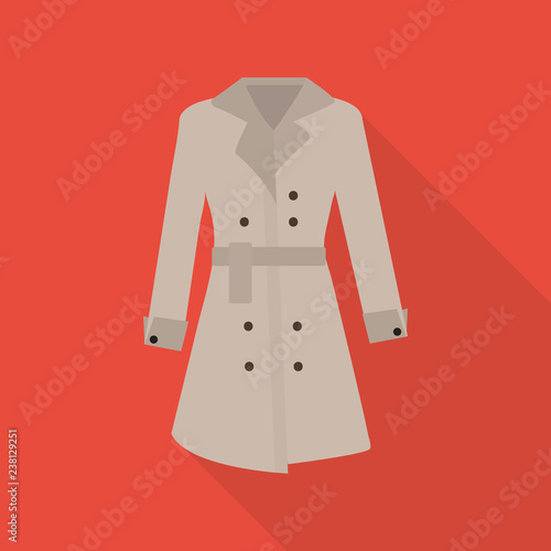 Fotografie, Tablou  trench coat icon in flat style with long shadow,isolated vector illustration on red transparent background