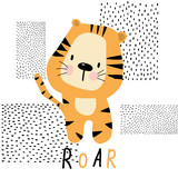 Cute tiger drawn by hand, for printing on clothes, posters, mugs. - 238130202
